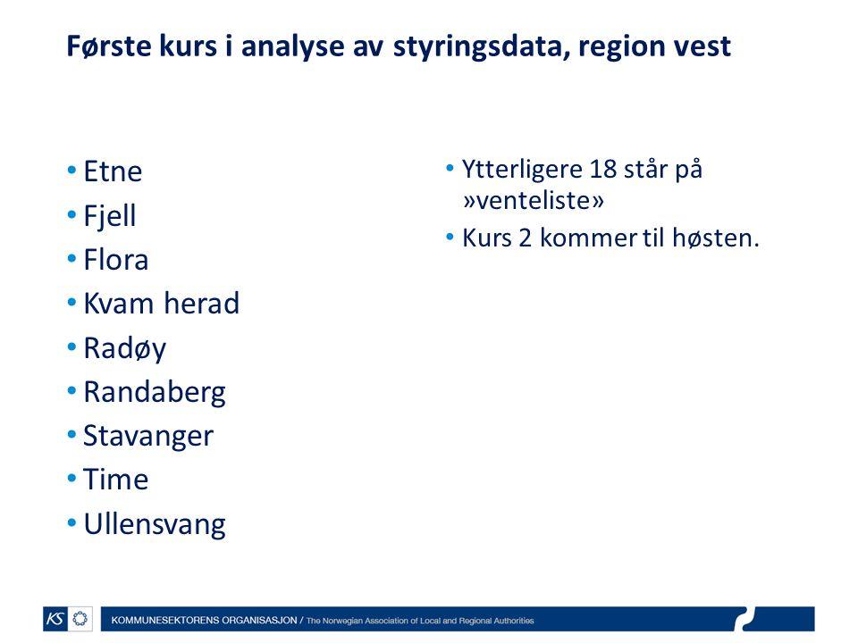 Første kurs i analyse av styringsdata, region vest