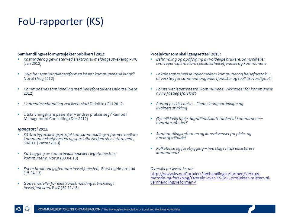 FoU-rapporter (KS) Samhandlingsreformprosjekter publisert i 2012: