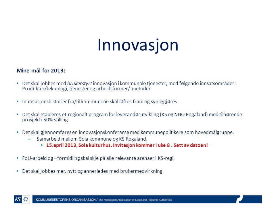 Innovasjon Mine mål for 2013: