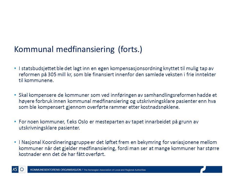 Kommunal medfinansiering (forts.)