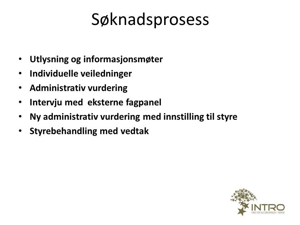 Søknadsprosess Utlysning og informasjonsmøter