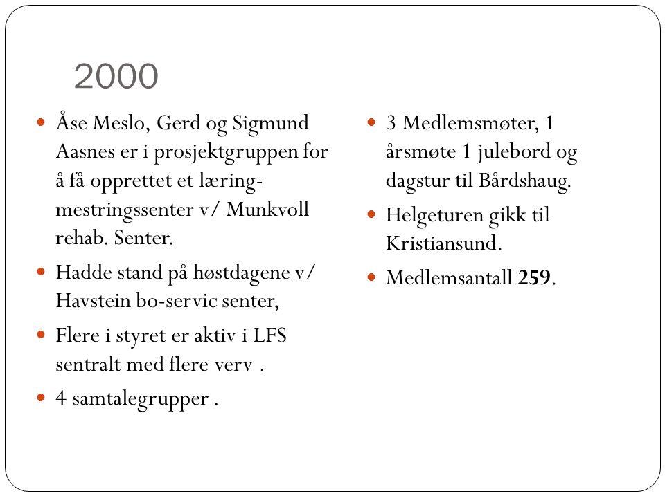 2000 Åse Meslo, Gerd og Sigmund Aasnes er i prosjektgruppen for å få opprettet et læring- mestringssenter v/ Munkvoll rehab. Senter.