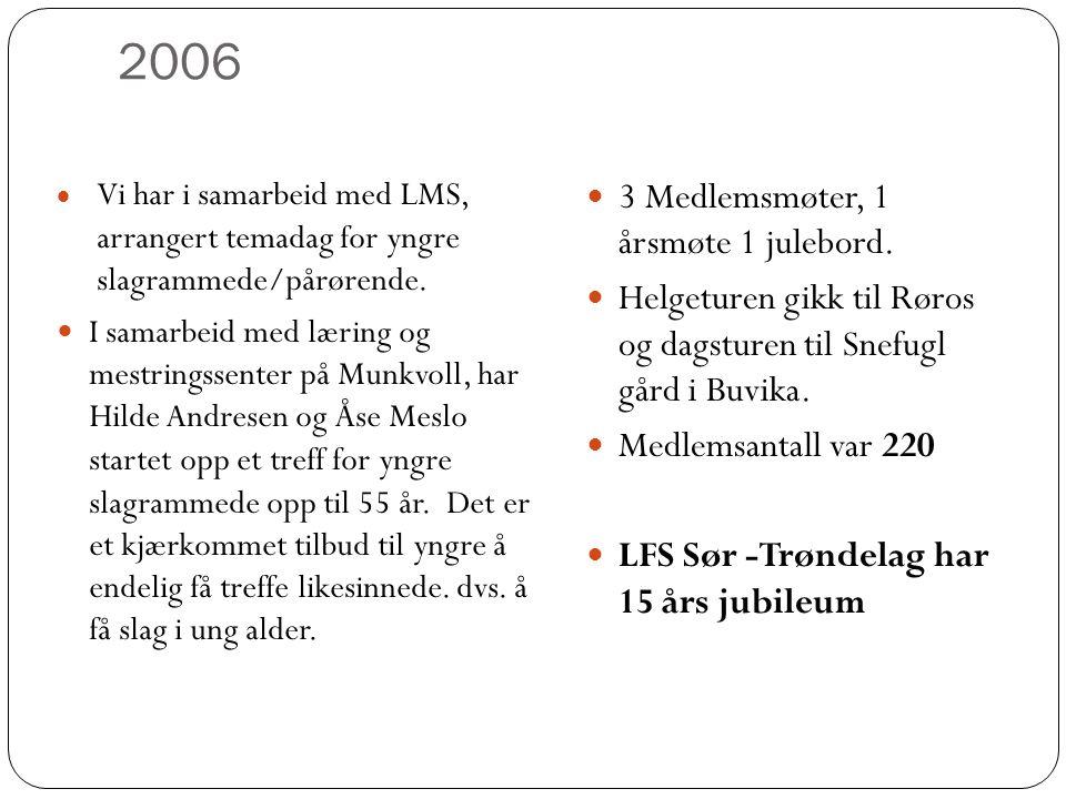 2006 3 Medlemsmøter, 1 årsmøte 1 julebord.