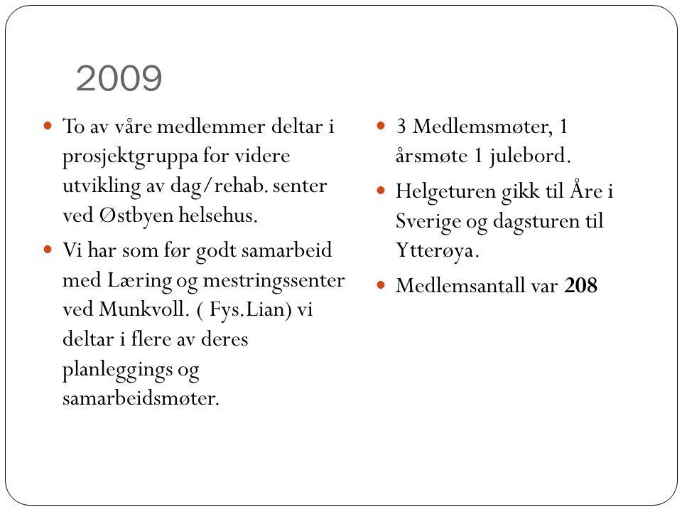 2009 To av våre medlemmer deltar i prosjektgruppa for videre utvikling av dag/rehab. senter ved Østbyen helsehus.