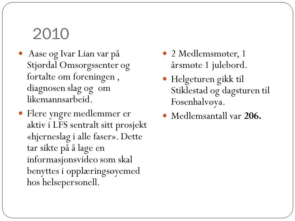 2010 Aase og Ivar Lian var på Stjørdal Omsorgssenter og fortalte om foreningen , diagnosen slag og om likemannsarbeid.
