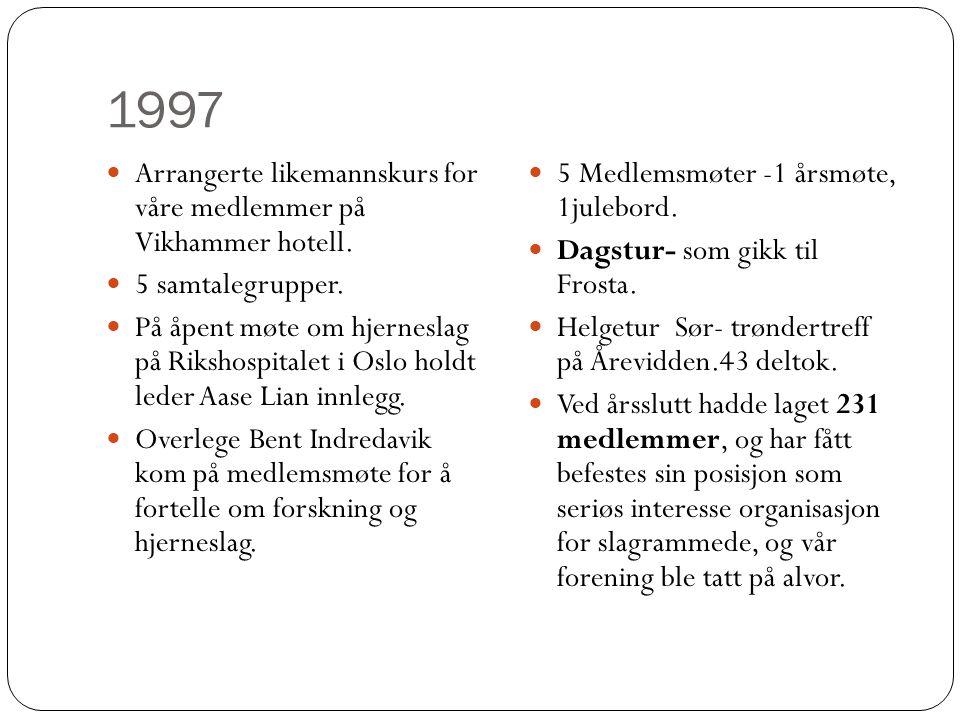 1997 Arrangerte likemannskurs for våre medlemmer på Vikhammer hotell. 5 samtalegrupper.