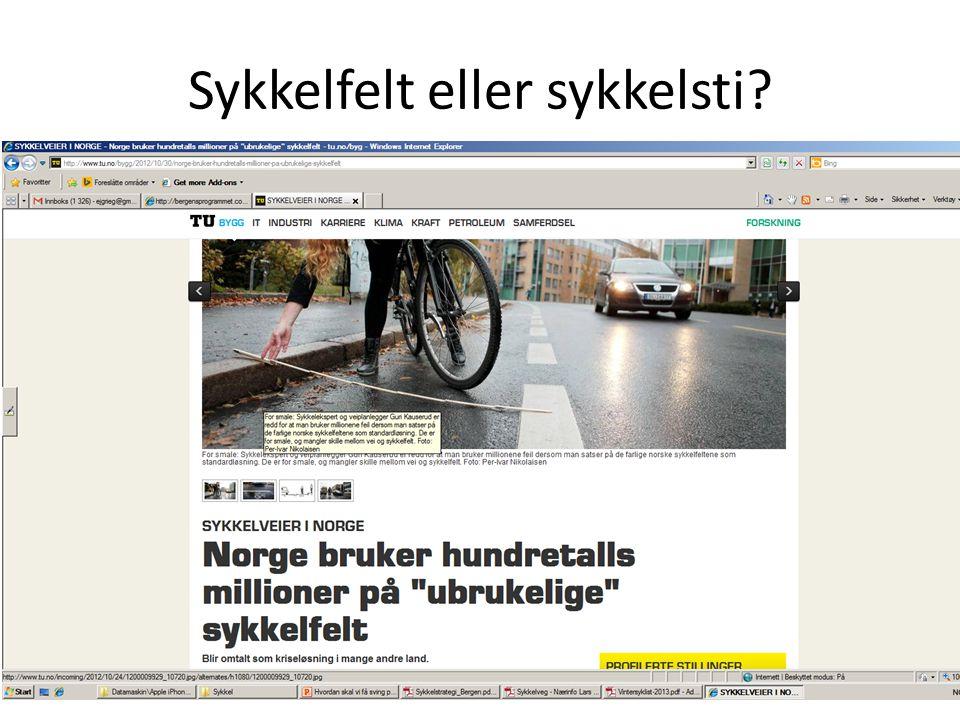 Sykkelfelt eller sykkelsti