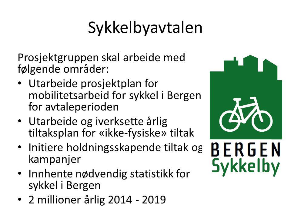 Sykkelbyavtalen Prosjektgruppen skal arbeide med følgende områder: