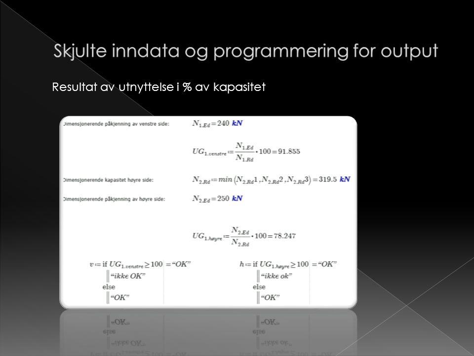 Skjulte inndata og programmering for output