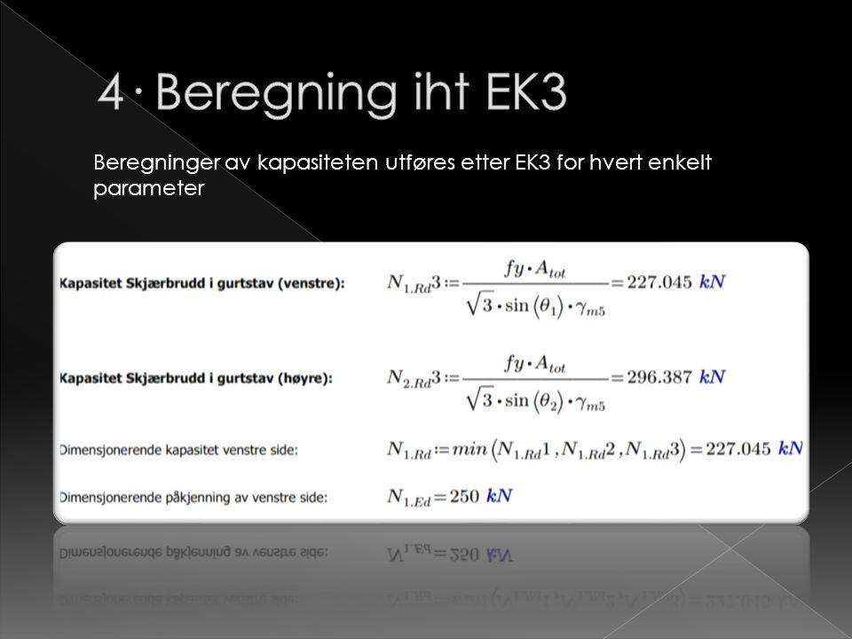 4· Beregning iht EK3 Beregninger av kapasiteten utføres etter EK3 for hvert enkelt parameter