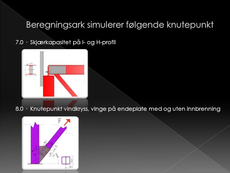Beregningsark simulerer følgende knutepunkt