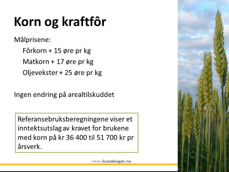 Korn og kraftfôr Målprisene: Fôrkorn + 15 øre pr kg Matkorn + 17 øre pr kg Oljevekster + 25 øre pr kg Ingen endring på arealtilskuddet