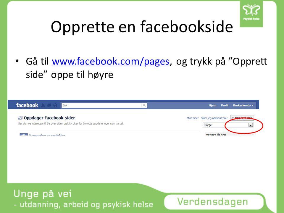 Opprette en facebookside