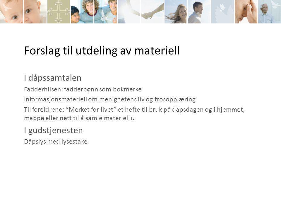 Forslag til utdeling av materiell