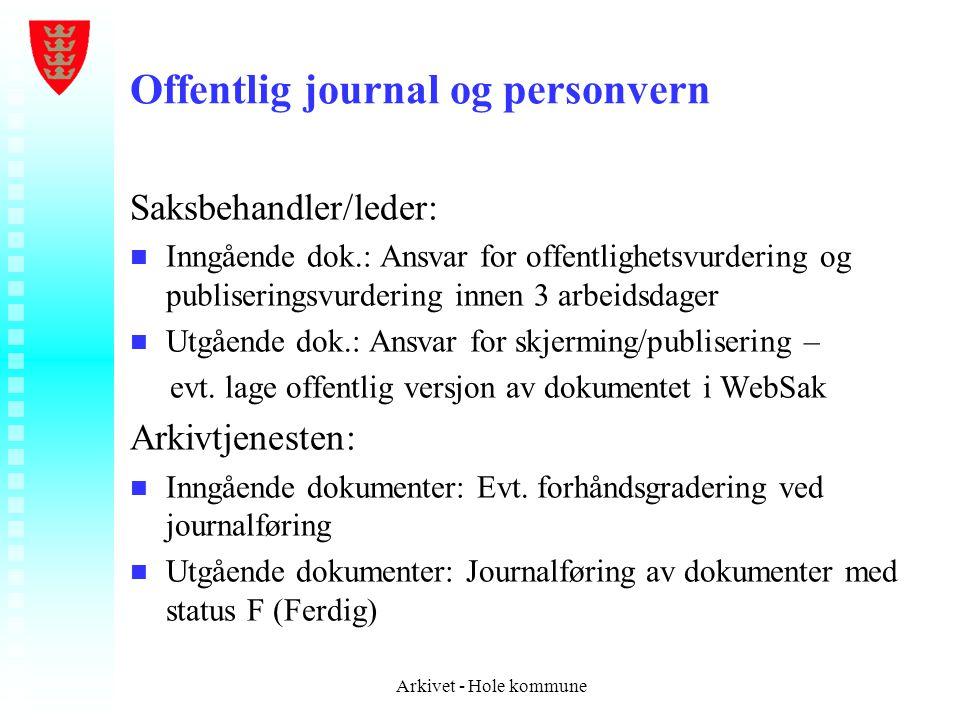 Offentlig journal og personvern