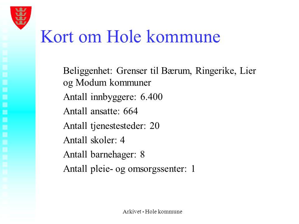 Kort om Hole kommune Beliggenhet: Grenser til Bærum, Ringerike, Lier og Modum kommuner. Antall innbyggere: 6.400.