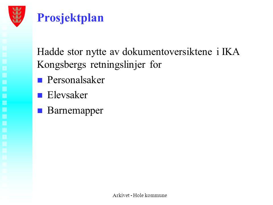 Prosjektplan Hadde stor nytte av dokumentoversiktene i IKA Kongsbergs retningslinjer for. Personalsaker.