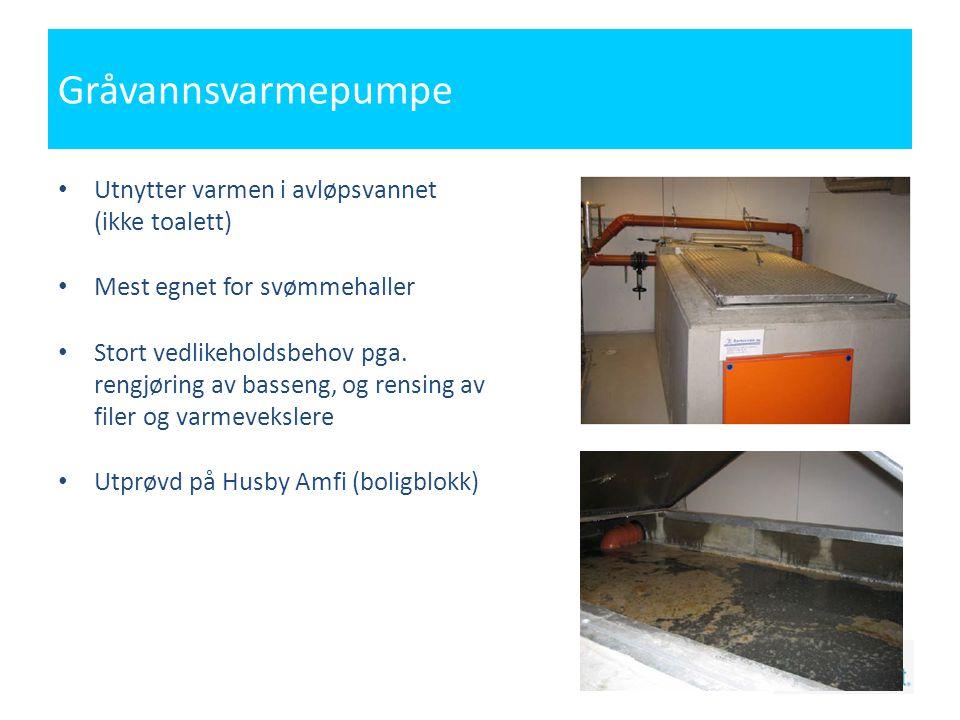 Gråvannsvarmepumpe Utnytter varmen i avløpsvannet (ikke toalett)
