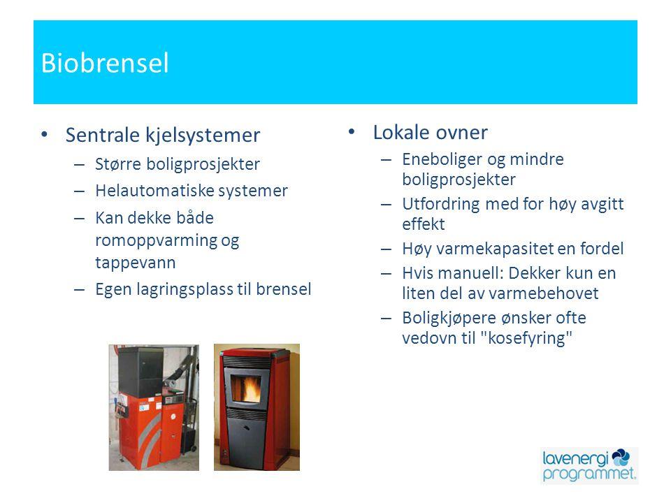 Biobrensel Sentrale kjelsystemer Lokale ovner Større boligprosjekter