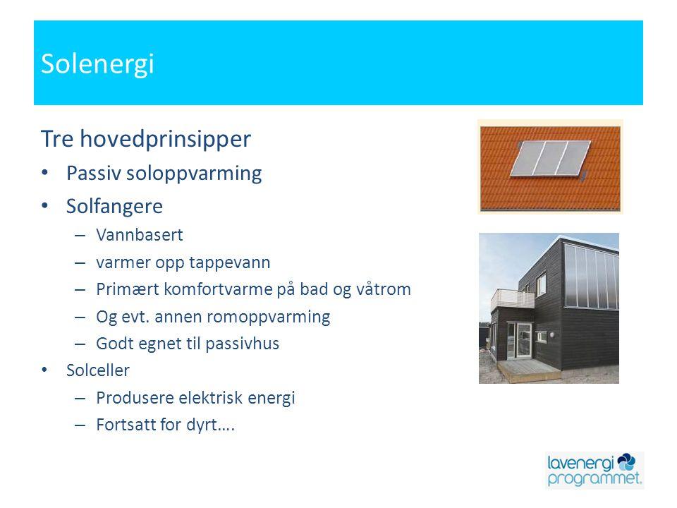 Solenergi Tre hovedprinsipper Passiv soloppvarming Solfangere