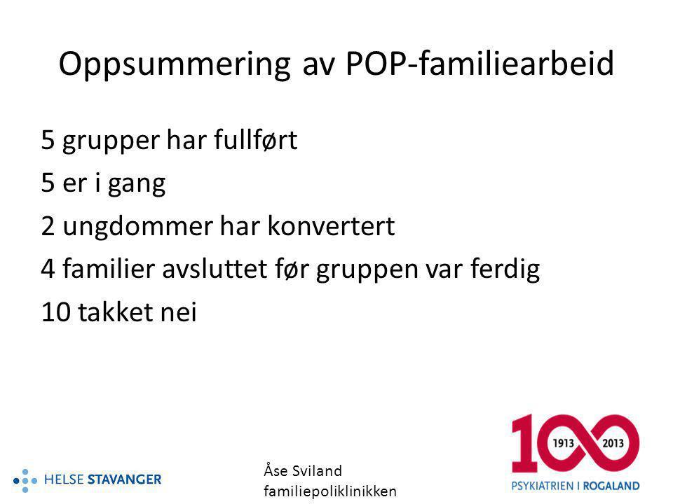 Oppsummering av POP-familiearbeid