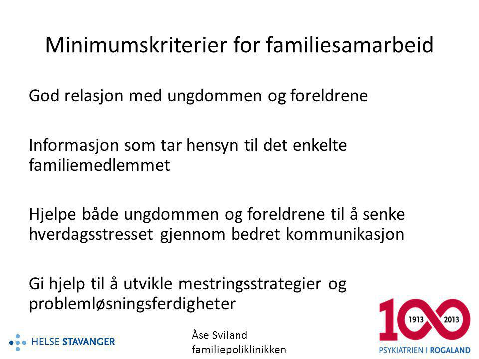 Minimumskriterier for familiesamarbeid
