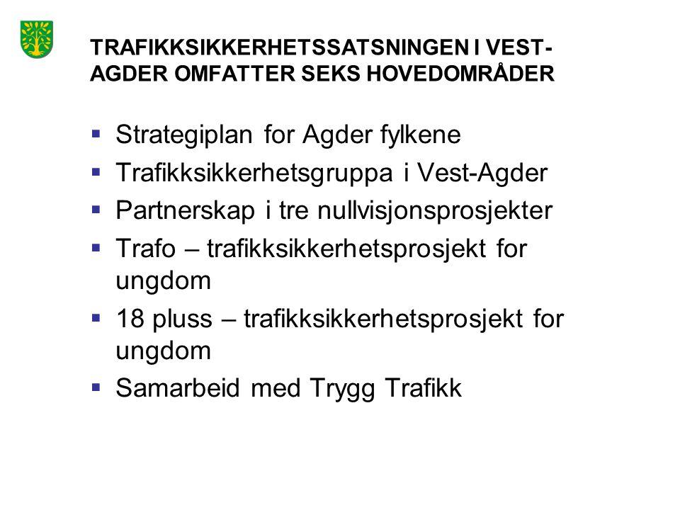 TRAFIKKSIKKERHETSSATSNINGEN I VEST-AGDER OMFATTER SEKS HOVEDOMRÅDER
