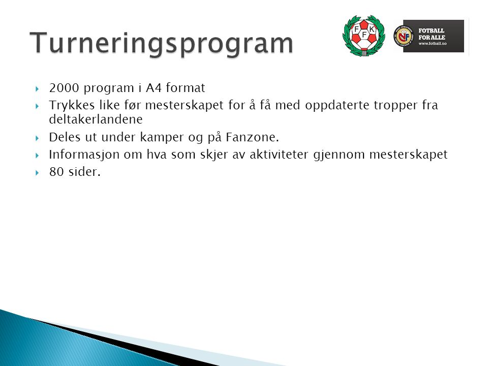 Turneringsprogram 2000 program i A4 format