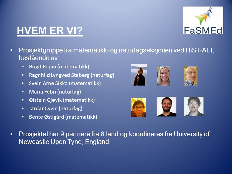 Hvem er vi Prosjektgruppe fra matematikk- og naturfagseksjonen ved HiST-ALT, bestående av: Birgit Pepin (matematikk)