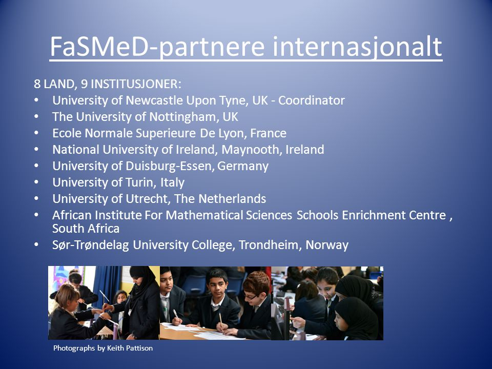 FaSMeD-partnere internasjonalt