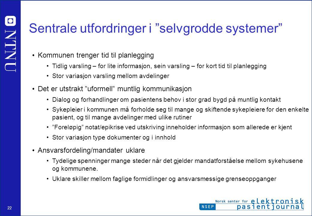 Sentrale utfordringer i selvgrodde systemer