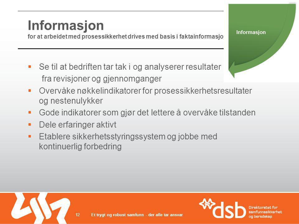 Informasjon for at arbeidet med prosessikkerhet drives med basis i faktainformasjon
