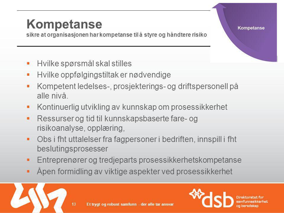 Kompetanse sikre at organisasjonen har kompetanse til å styre og håndtere risiko
