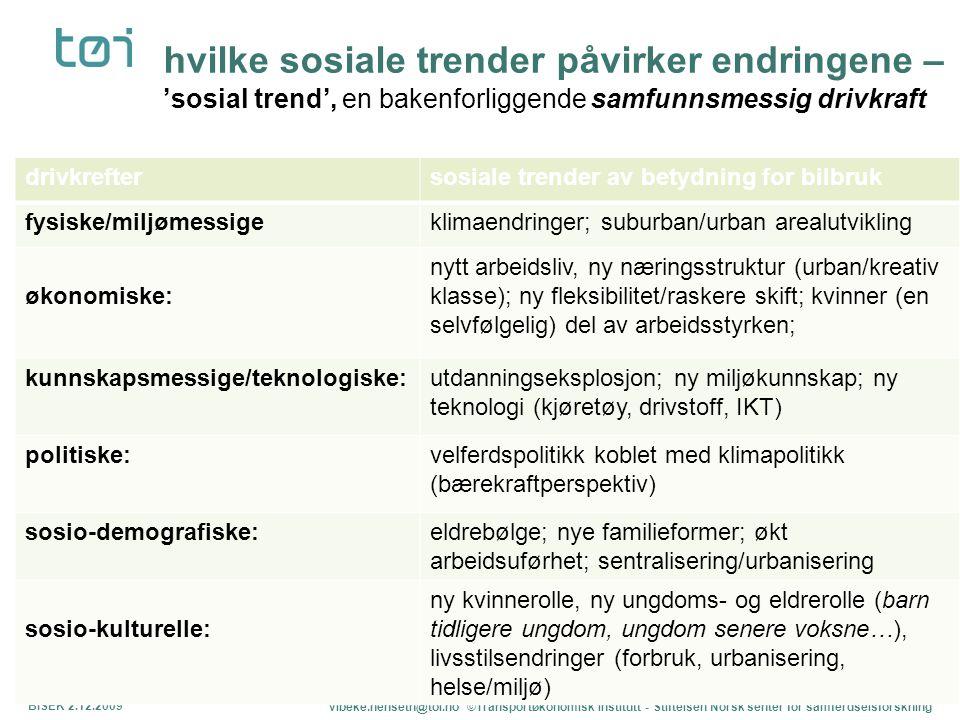 BISEK 2.12.09 hvilke sosiale trender påvirker endringene – 'sosial trend', en bakenforliggende samfunnsmessig drivkraft.