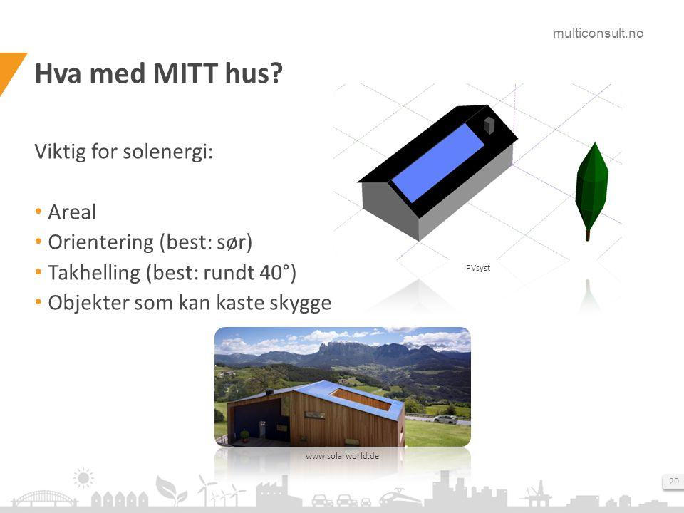 Hva med MITT hus Viktig for solenergi: Areal Orientering (best: sør)