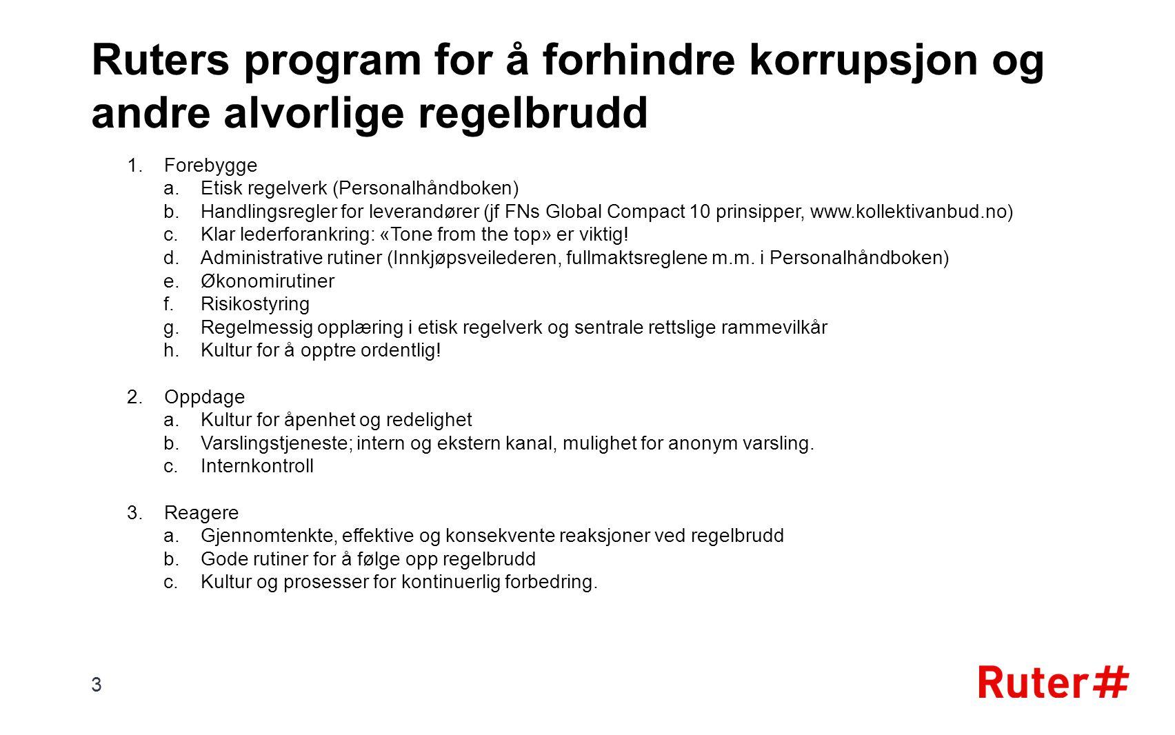 Ruters program for å forhindre korrupsjon og andre alvorlige regelbrudd