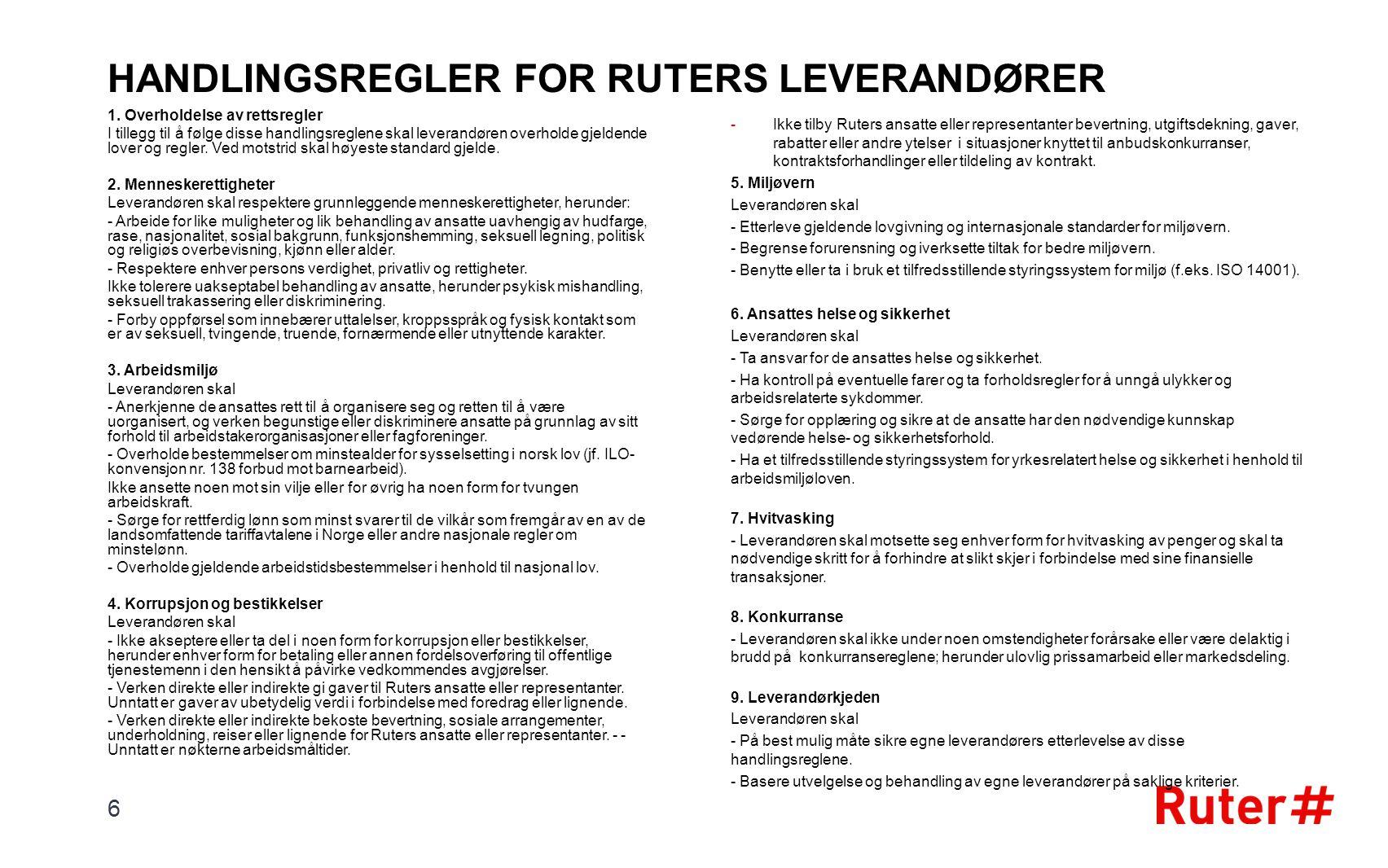 HANDLINGSREGLER FOR RUTERS LEVERANDØRER