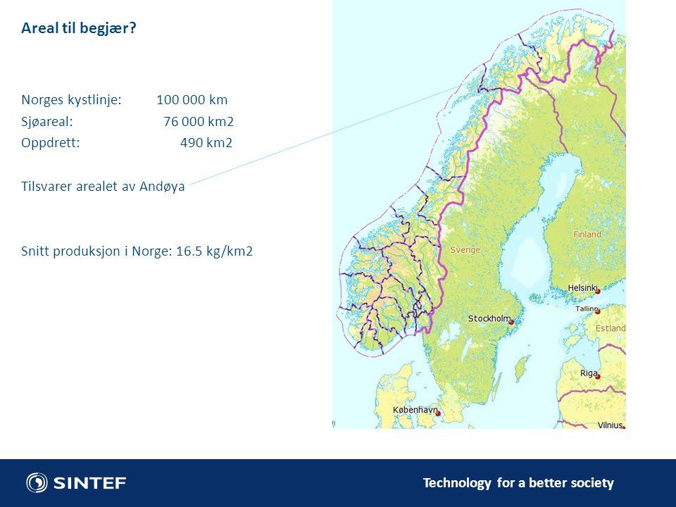 Areal til begjær Norges kystlinje: 100 000 km Sjøareal: 76 000 km2