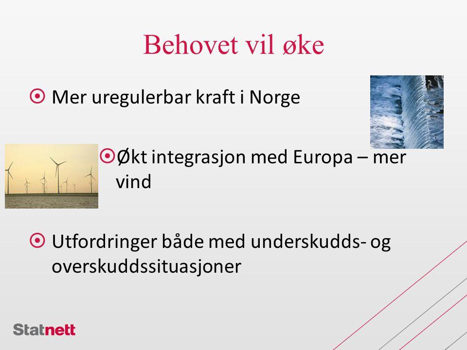 Behovet vil øke Mer uregulerbar kraft i Norge