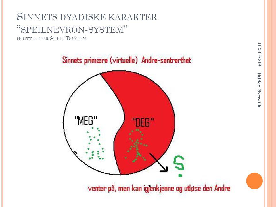 Sinnets dyadiske karakter speilnevron-system (fritt etter Stein Bråten)