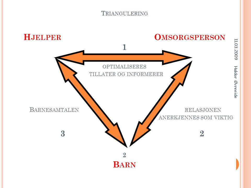 Triangulering Hjelpeperson Omsorgsperson Triangulering Hjelper Omsorgsperson 1 optimaliseres tillater og informerer Barnesamtalen relasjonen anerkjennes som viktig 3 2 2 Barn