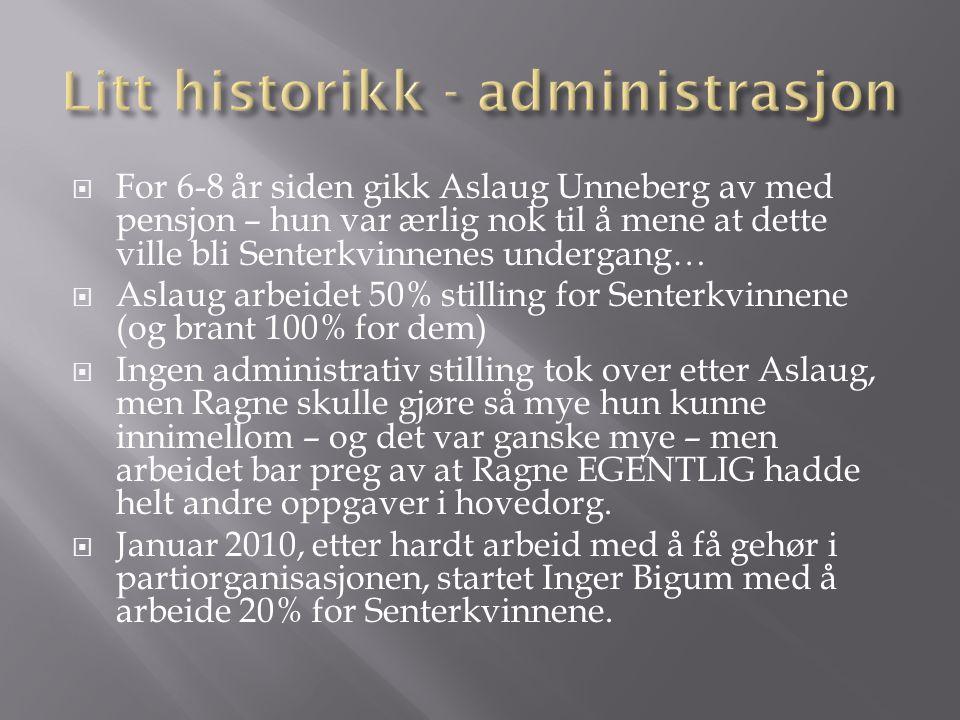 Litt historikk - administrasjon