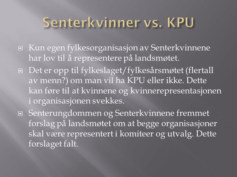 Senterkvinner vs. KPU Kun egen fylkesorganisasjon av Senterkvinnene har lov til å representere på landsmøtet.