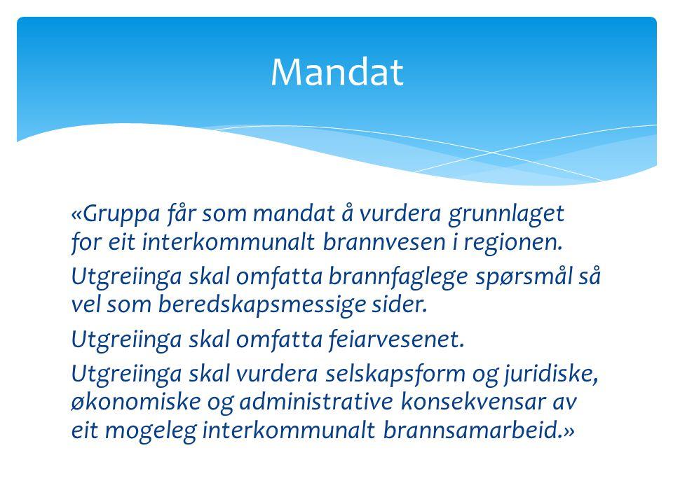 Mandat «Gruppa får som mandat å vurdera grunnlaget for eit interkommunalt brannvesen i regionen.