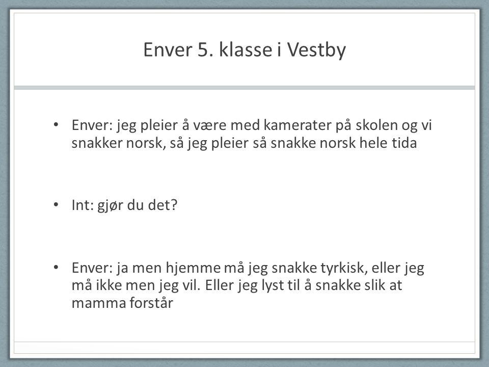 Enver 5. klasse i Vestby Enver: jeg pleier å være med kamerater på skolen og vi snakker norsk, så jeg pleier så snakke norsk hele tida.