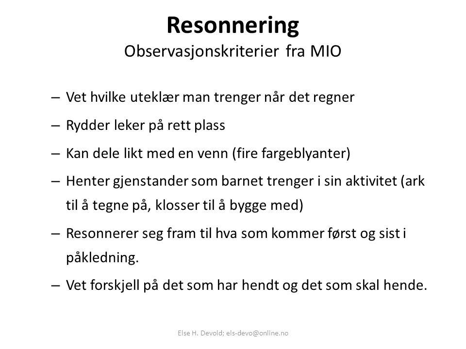 Resonnering Observasjonskriterier fra MIO