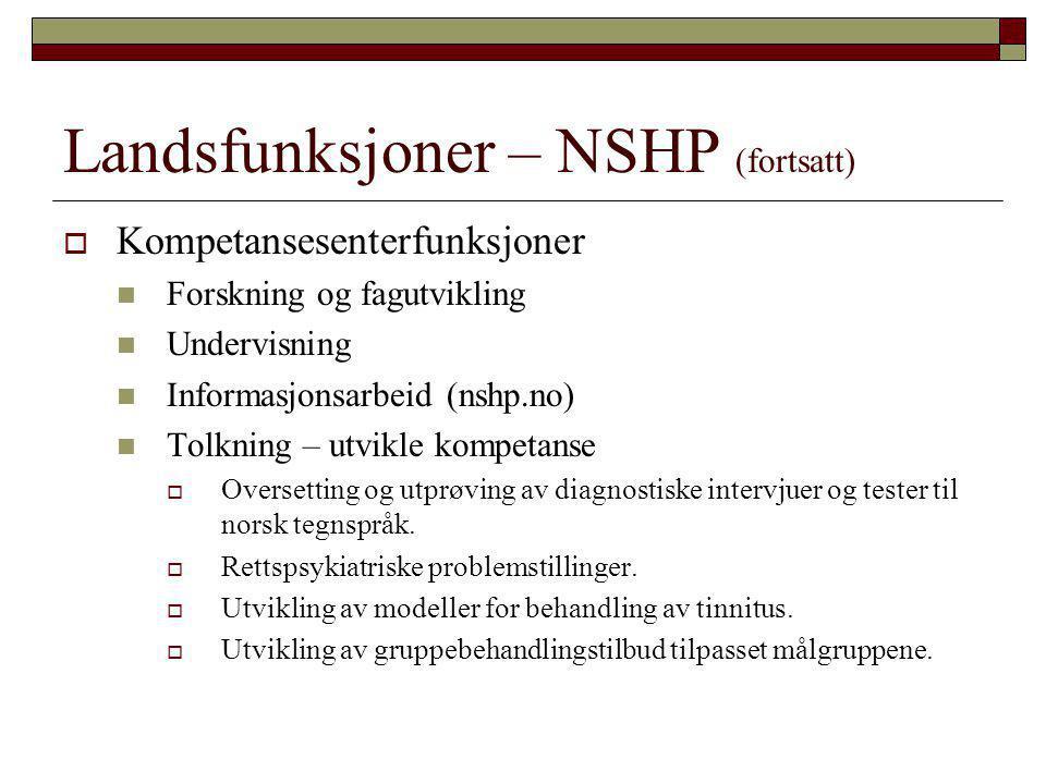Landsfunksjoner – NSHP (fortsatt)