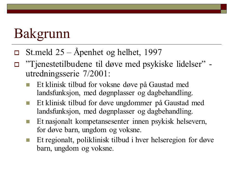 Bakgrunn St.meld 25 – Åpenhet og helhet, 1997
