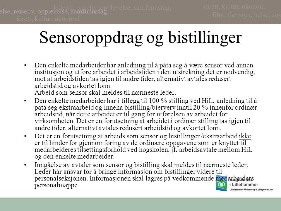 Sensoroppdrag og bistillinger