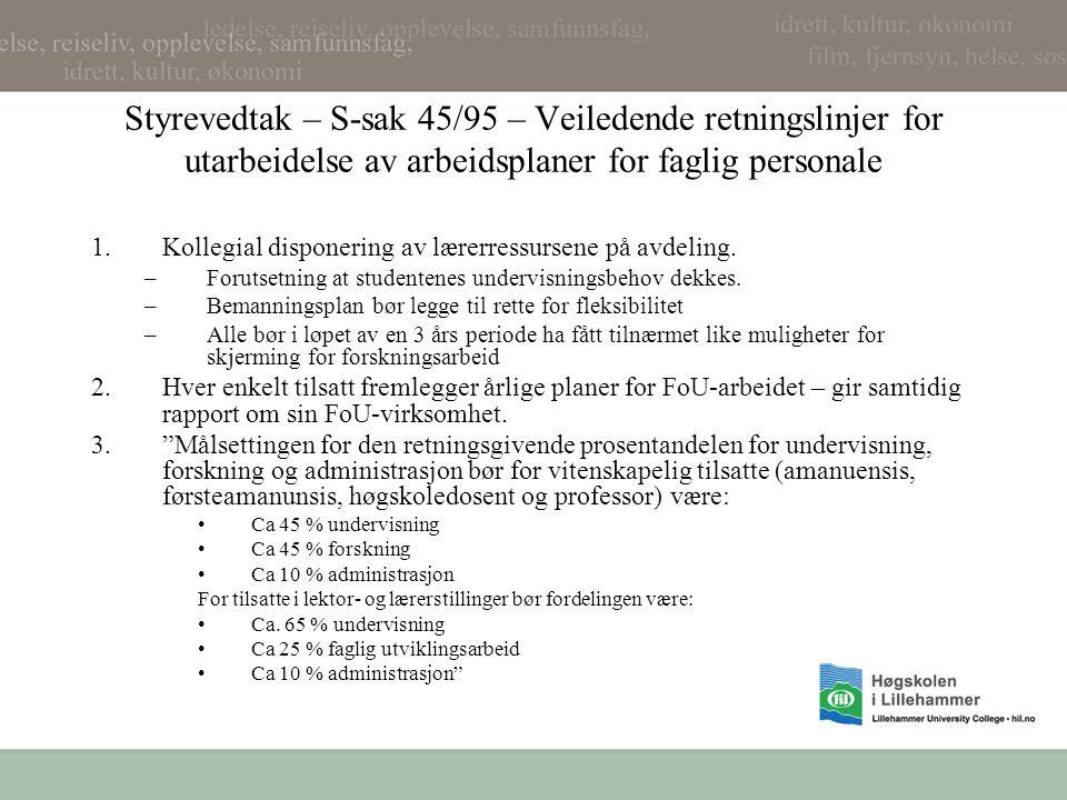 Styrevedtak – S-sak 45/95 – Veiledende retningslinjer for utarbeidelse av arbeidsplaner for faglig personale